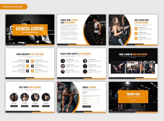Slides modernos para apresentações de ginástica e fitness