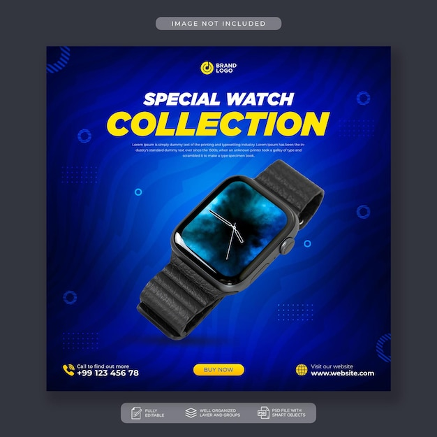 Smart watch sale mídia social post no instagram ou modelo de banner da web