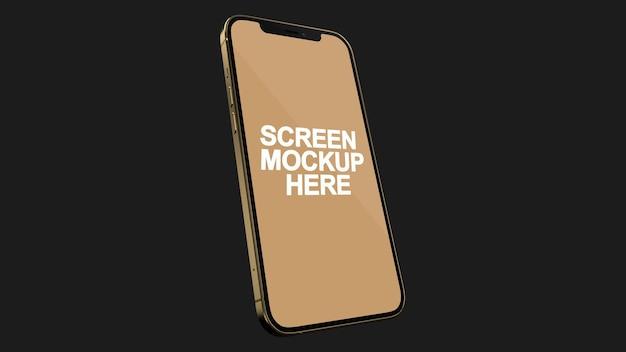 Smartphone 12 pro max gold mockup psd