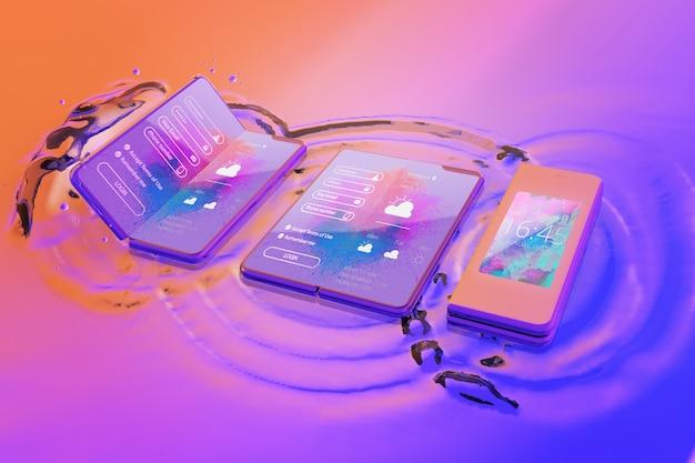 Smartphone 3d com efeito de água