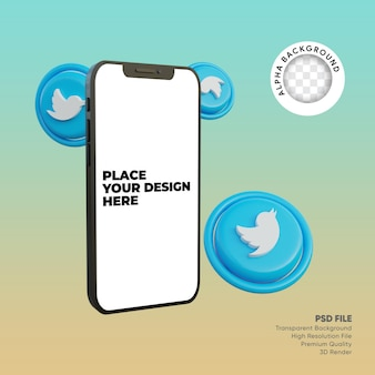 Smartphone 3d e ícone de mídia social twitter