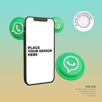 Smartphone 3d e ícone de mídia social whatsapp