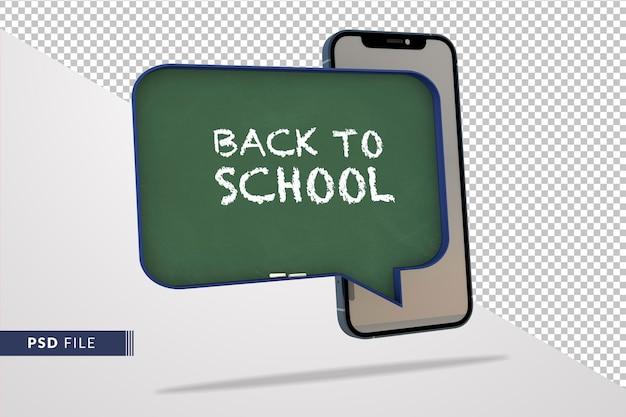 Smartphone 3d e quadro-negro moderno, um conceito de escola digital para educação online