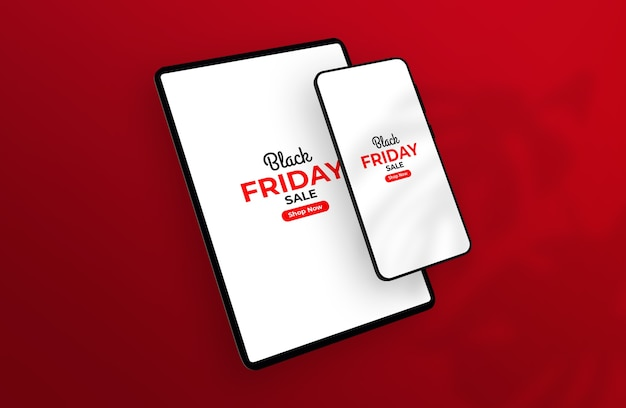 Smartphone black friday e maquete de tablet flutuando