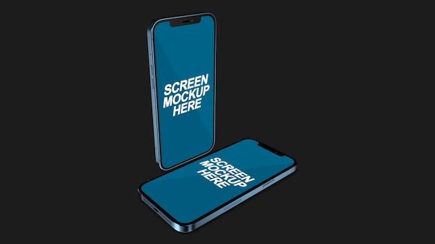 Smartphone blue mockup psd