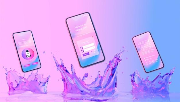 Smartphone com a página de login e fundo líquido colorido