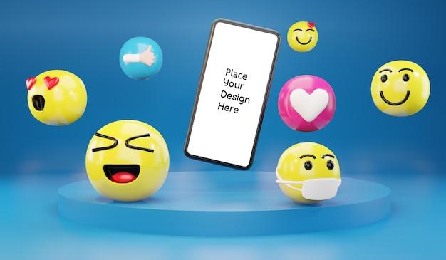 Smartphone com ícones de emoticons de desenhos animados para mídias sociais.