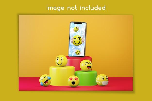Smartphone com ícones de emoticons de desenhos animados para redes sociais
