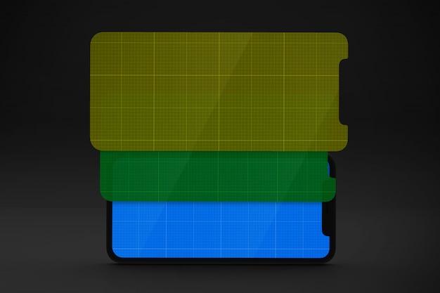 Smartphone com maquete da tela, orientação horizontal