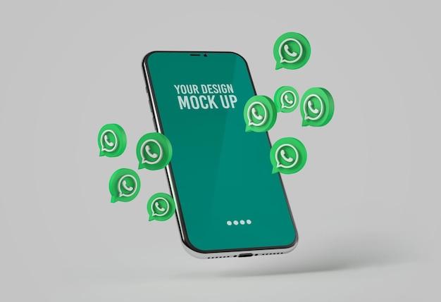 Smartphone com maquete de ícones do whatsapp