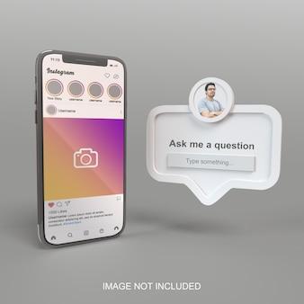 Smartphone com maquete de instagram de mídia social