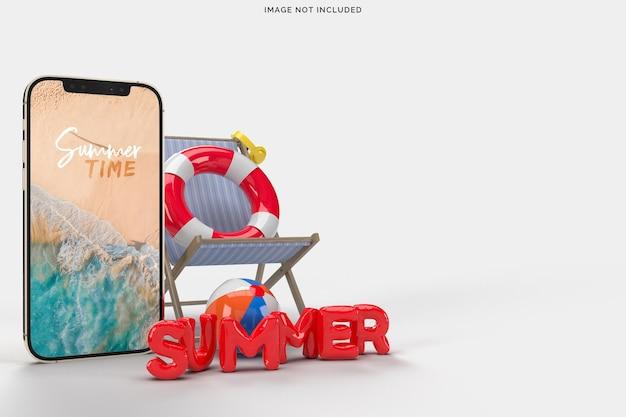 Smartphone com objetos decorativos de praia