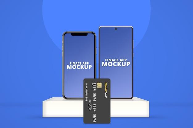 Smartphone com sistema operacional diferente com maquete de cartão plástico vertical