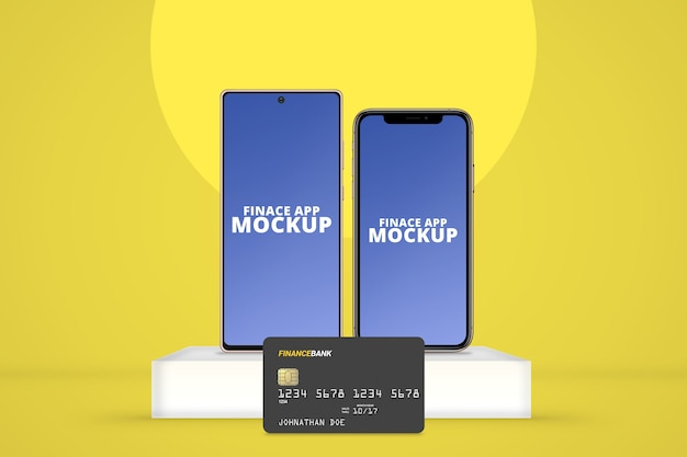 Smartphone com sistema operacional diferente com maquete de cartão plástico