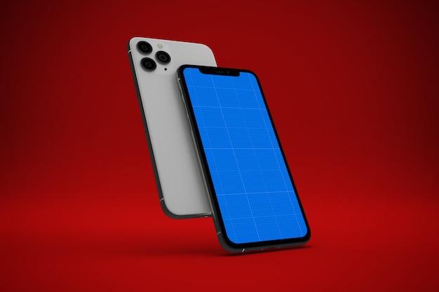 Smartphone com tela de maquete, vista frontal e traseira