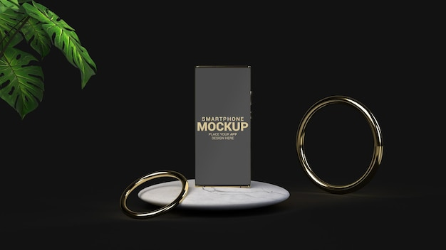 Smartphone de luxo com maquete de círculos dourados