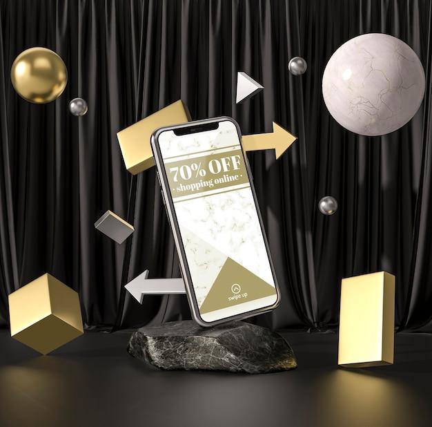 Smartphone de mock-up 3d com bolas e cubos