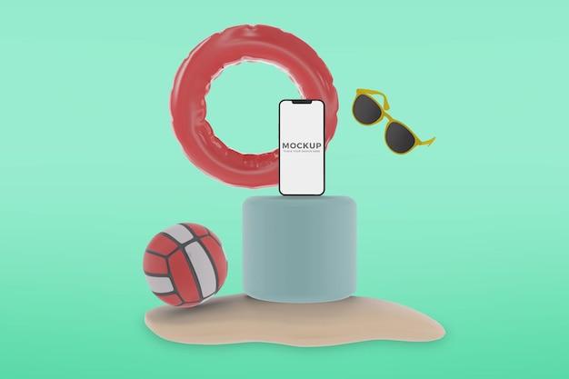 Smartphone de verão em maquete de praia