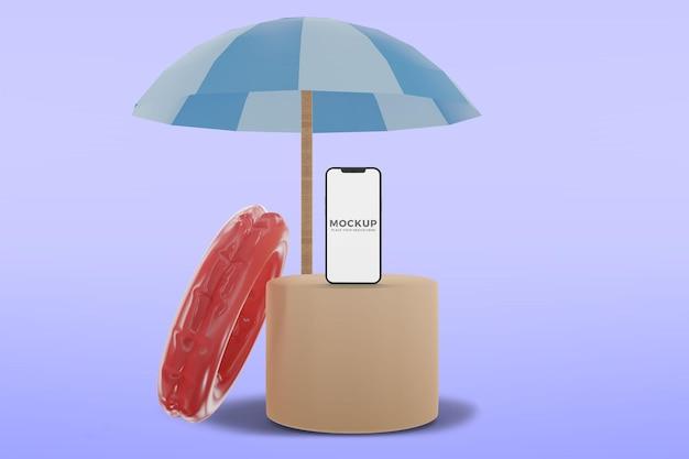 Smartphone de verão na maquete do pódio