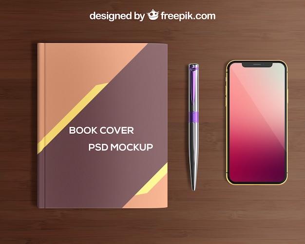 Smartphone e capa de livro mockup