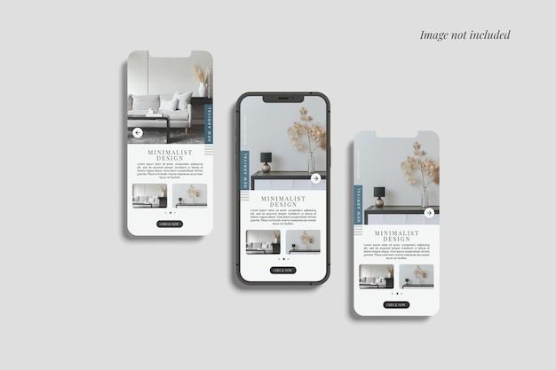 Smartphone e duas maquetes de tela