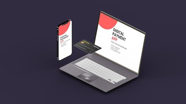 Smartphone e laptop com maquete de cartão plástico