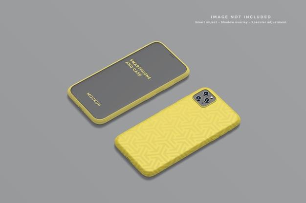 Smartphone e maquete da capa em alto ângulo