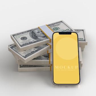 Smartphone e maquete de dinheiro