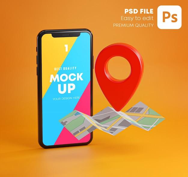 Smartphone e pino gps vermelho no modelo do mapa