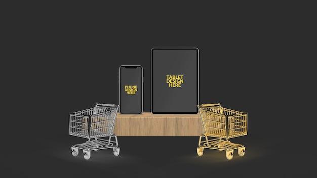 Smartphone e tablet com carrinho renderizado em 3d