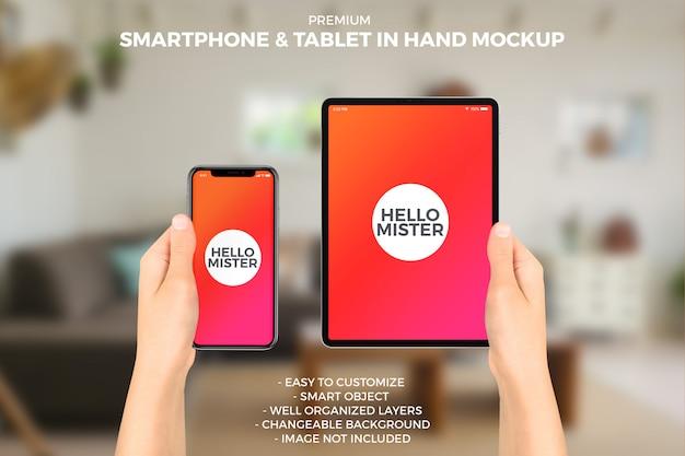 Smartphone e tablet em maquete de mãos