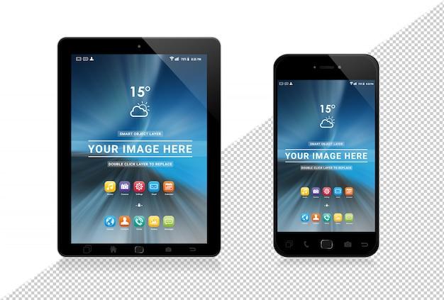 Smartphone e tablet modernos cortados em branco mockup