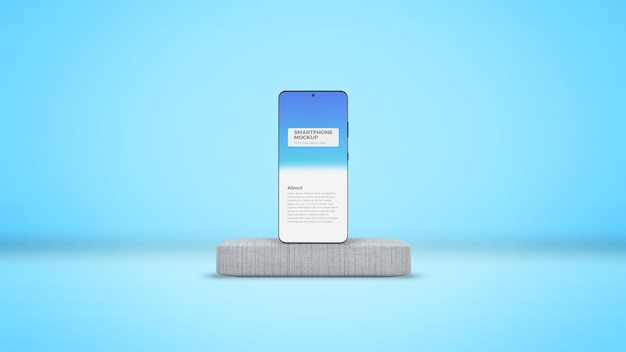 Smartphone em maquete de palco de concreto