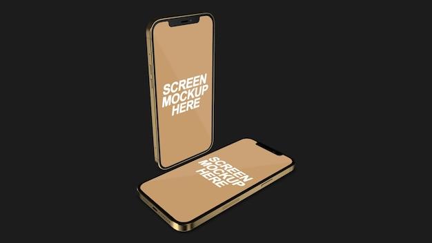 Smartphone gold mockup psd