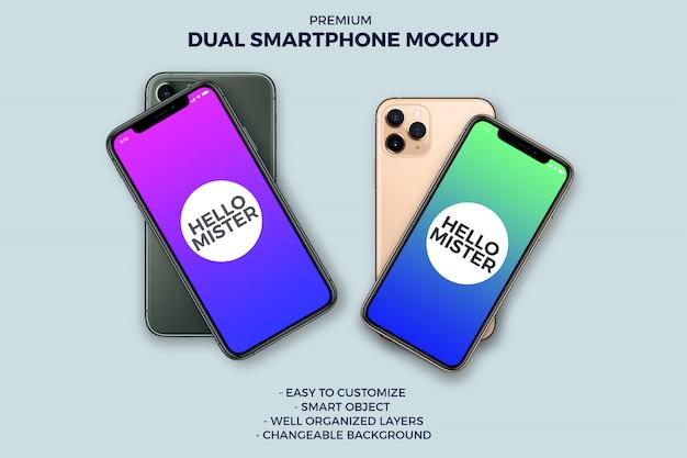 Smartphone grande e pequeno inclinado