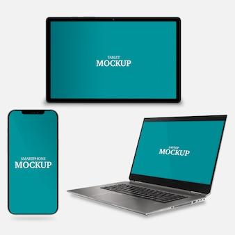 Smartphone laptop e maquete de tablet