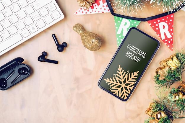 Smartphone maquete para o natal e ano novo