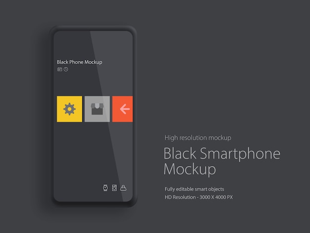 Smartphone moderno com maquete de exibição de moldura fina