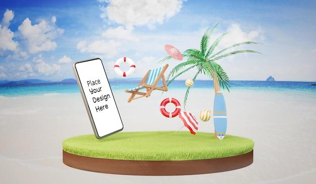 Smartphone na praia - conceito renderização em 3d