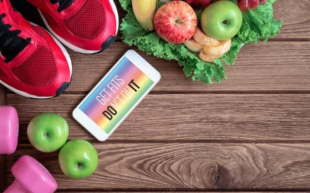 Smartphone para dieta saudável fitness e estilo de vida de perda de peso.