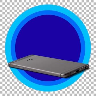 Smartphone preto sobre fundo transparente