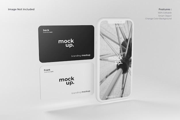 Smartphone realista com maquete de cartão de visita
