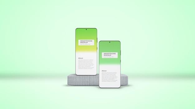 Smartphones em maquete de concreto pódio