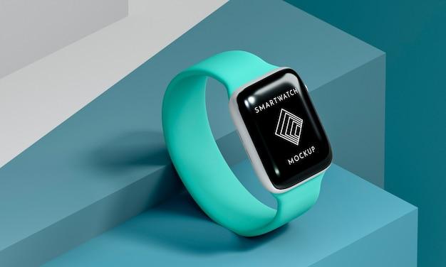 Smartwatch azul moderno de ângulo alto com simulação de tela