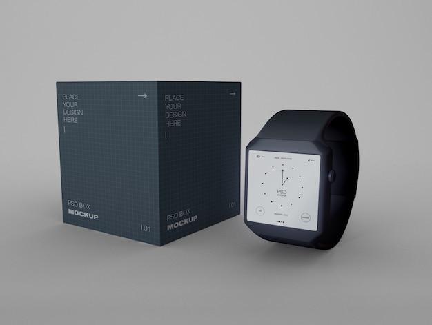 Smartwatch com caixa de embalagem mockup