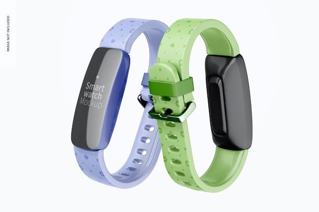 Smartwatch mockup, vista frontal e traseira