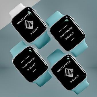 Smartwatches modernos com arranjo de maquete de tela