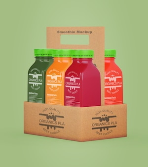 Smoothies de alimentação saudável para o conceito de desintoxicação em uma caixa de papelão
