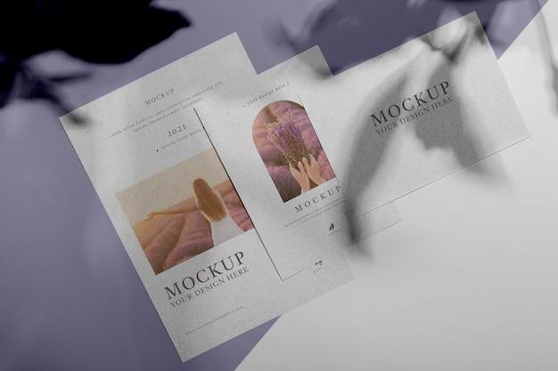 Sobreposição de sombra de brochura simulada