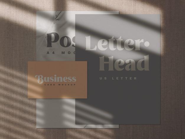Sobreposição de sombra e maquete de papel de carta